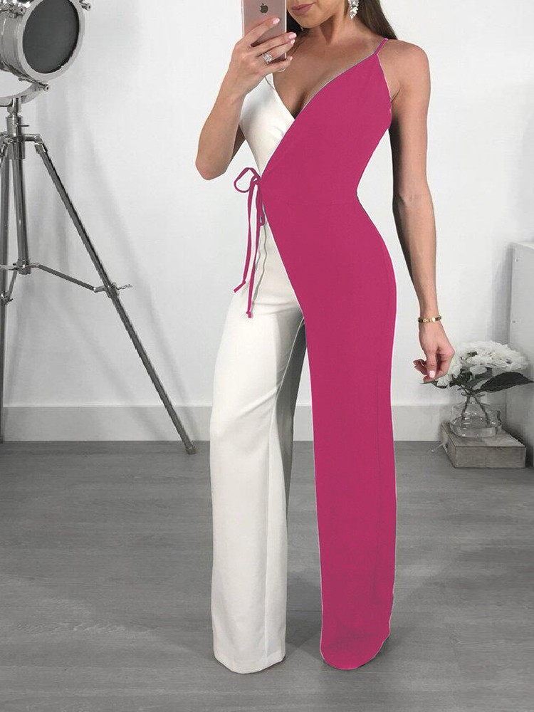 boutiquefeel / Contrast Color Spaghetti Strap Wrapped Wide Leg Jumpsuit