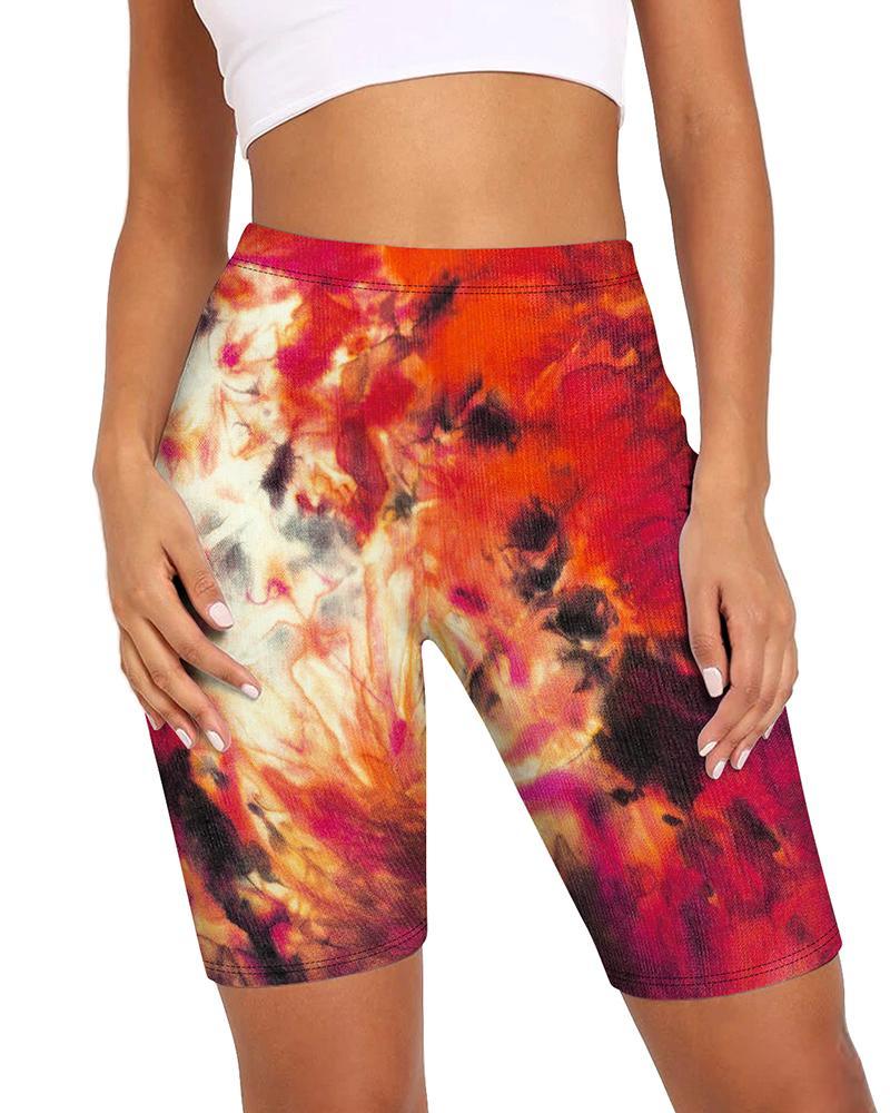 High Waist Tie Dye Print Biker Shorts thumbnail