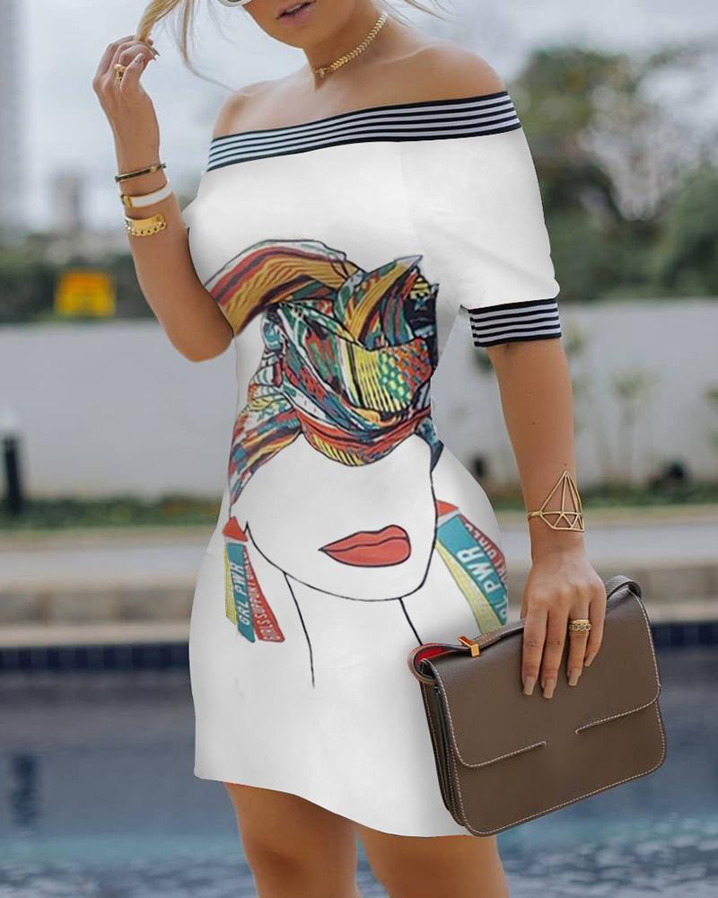 Figure Print Striped Tape Bodycon Dress thumbnail