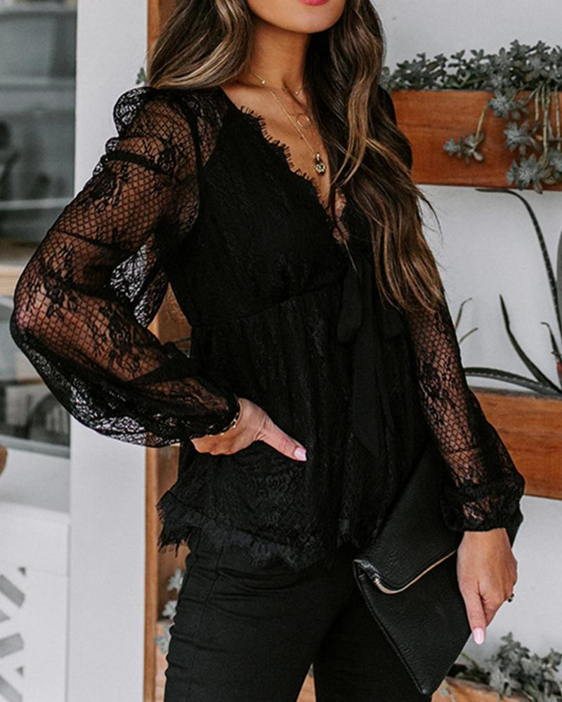 Lace Patchwork Long Sleeve Loose Blouse, boutiquefeel, black  - buy with discount