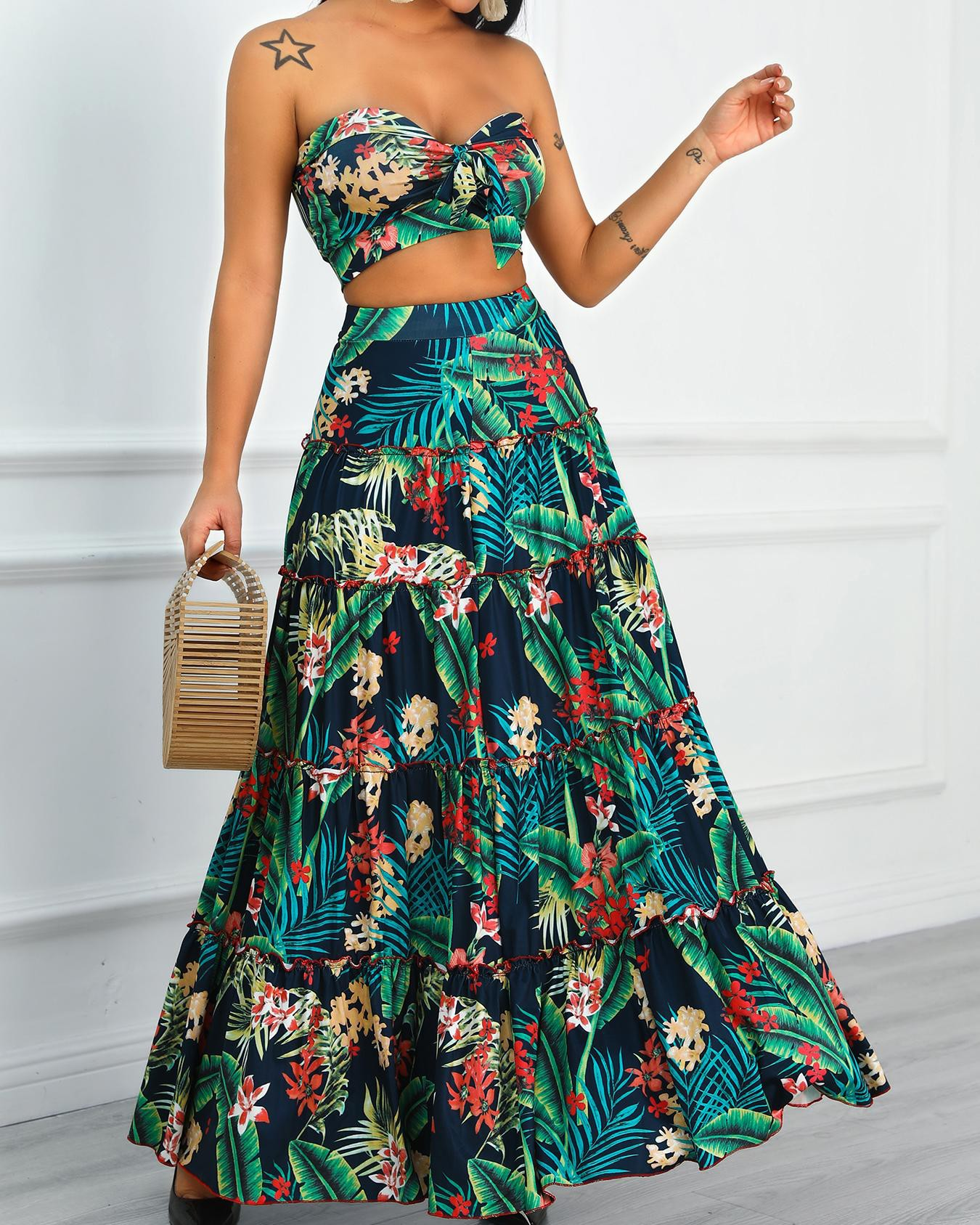 973b728ee77 Tropical Print Crop Top & Maxi Skirt Set