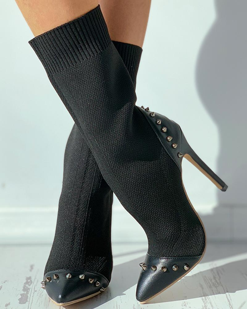 Rivet Pointed Toe Stiletto Heel Boots
