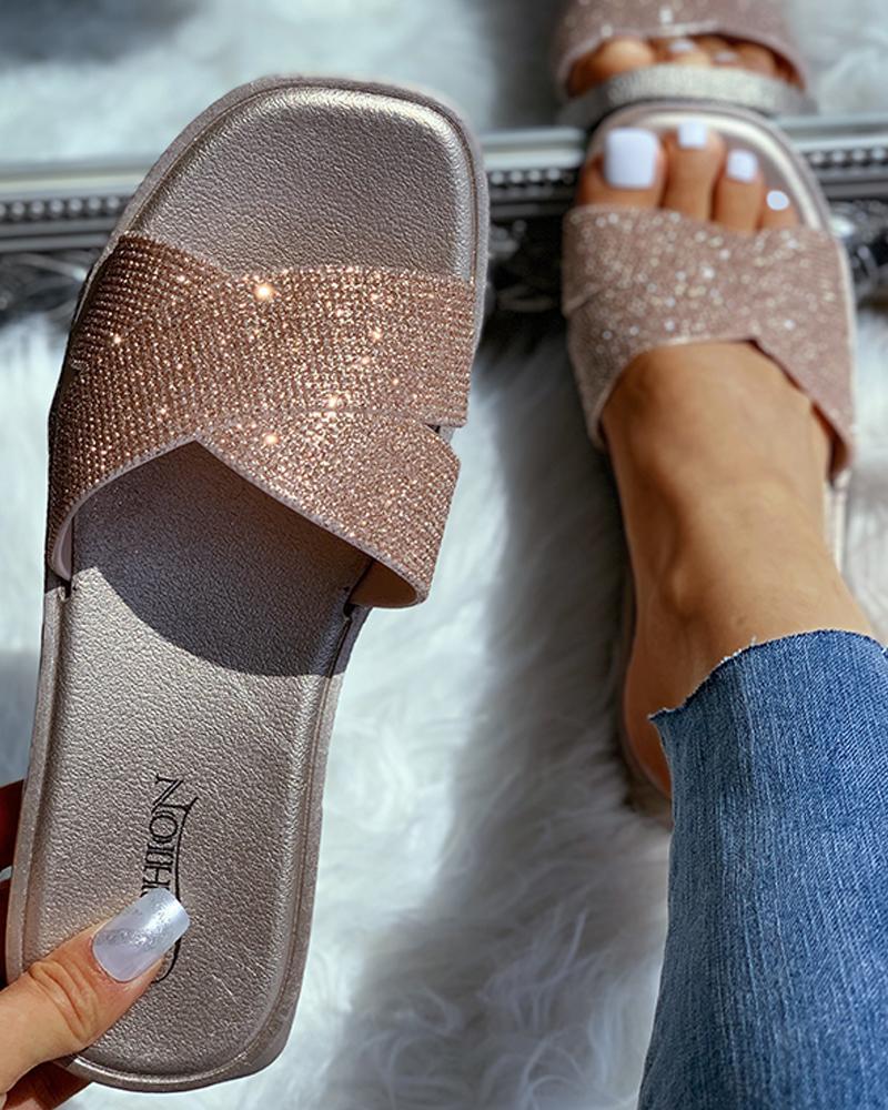 Open Toe Studded Flat Sandals