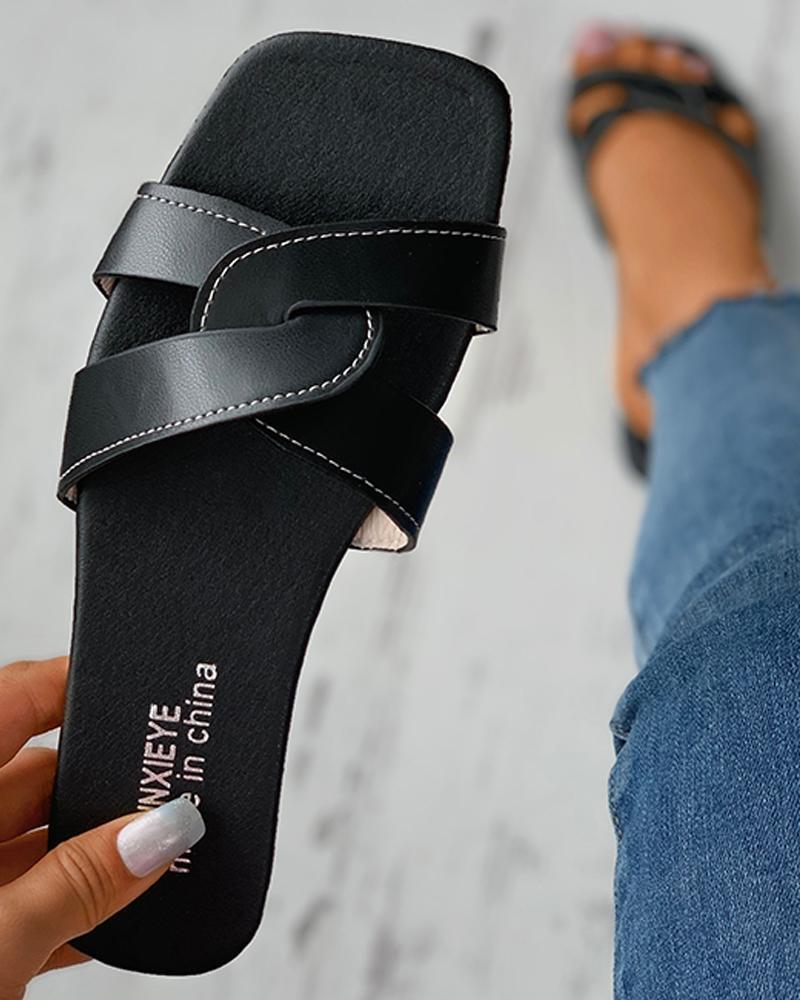 Cross Strap Square Toe Flat Sandals