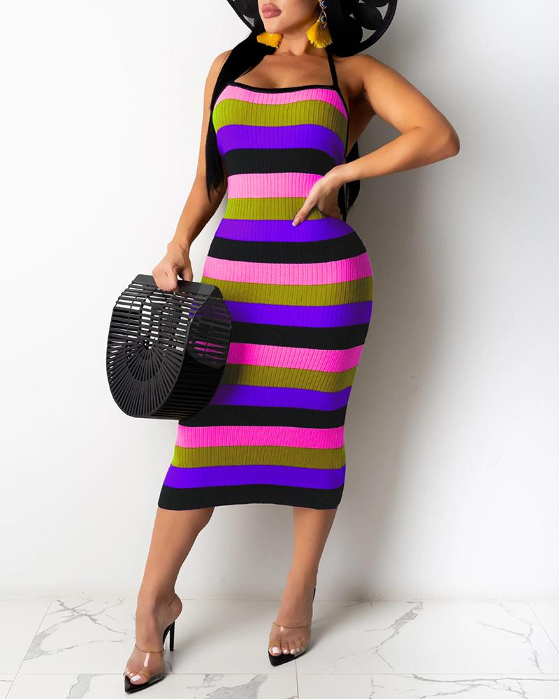 Ribbed Colorblock Striped Halter Backless Dress thumbnail