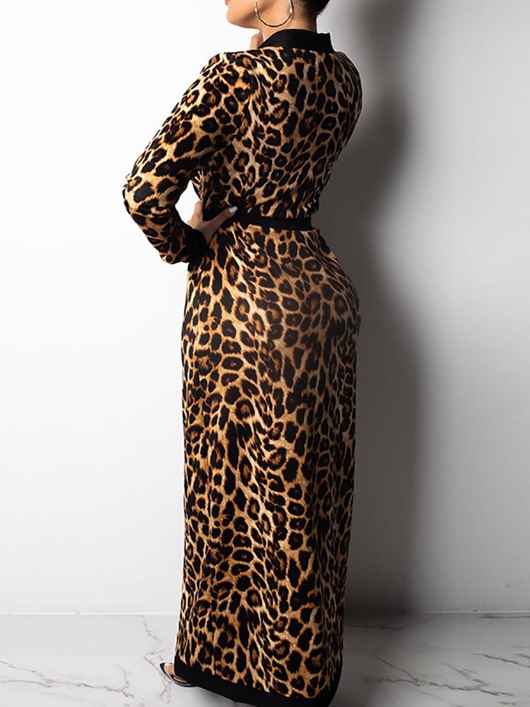 boutiquefeel / Leopard Contrast Binding Belted Cardigan & Pant Sets