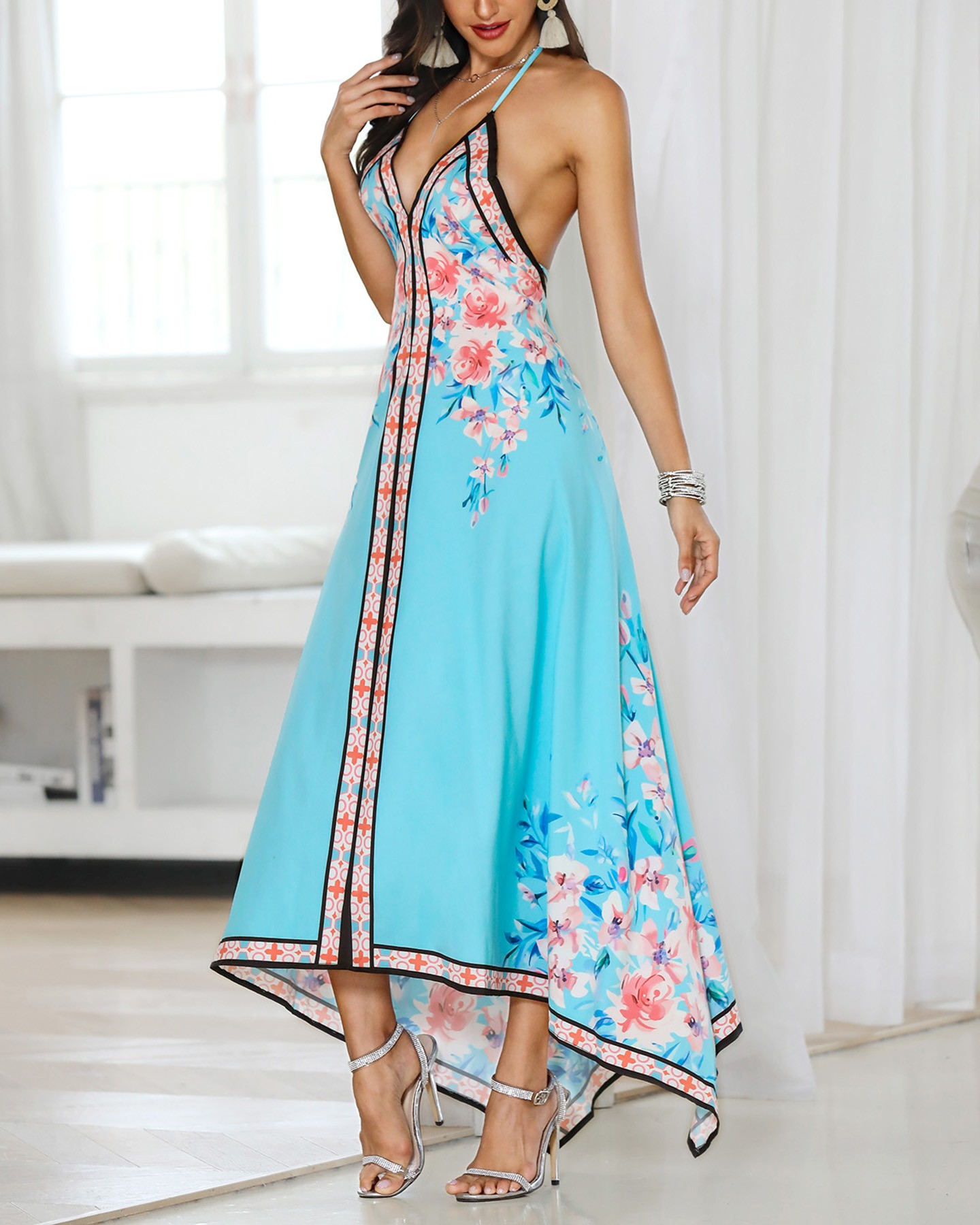 b94145f656a0 Floral Print Halter Backless Irregular Maxi Dress Online. Discover hottest  trend fashion at chicme.com