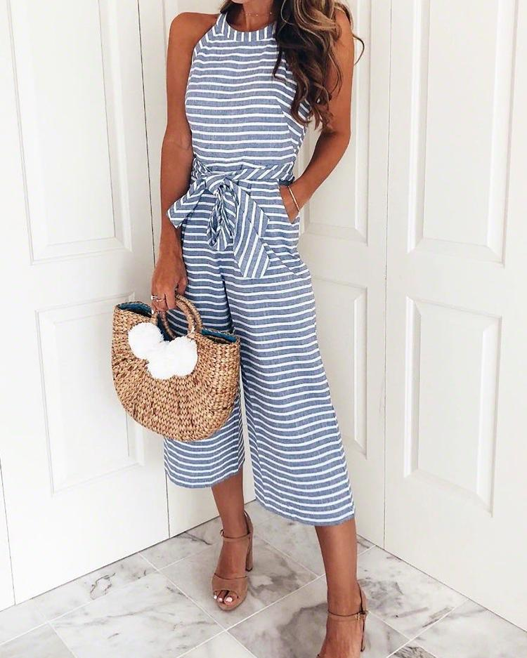 Striped Waist Belted Wide Leg Jumpsuit thumbnail