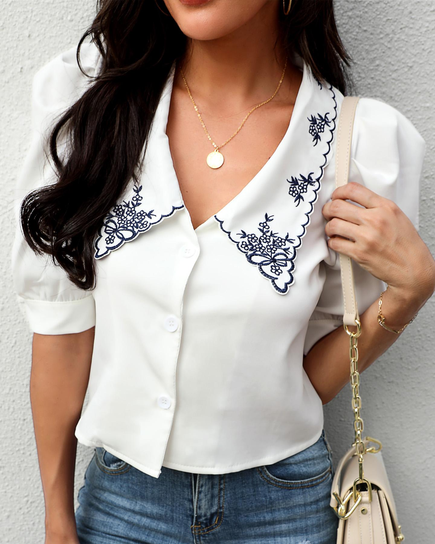Puffed Sleeve  Buttoned Embroidery Shirt thumbnail
