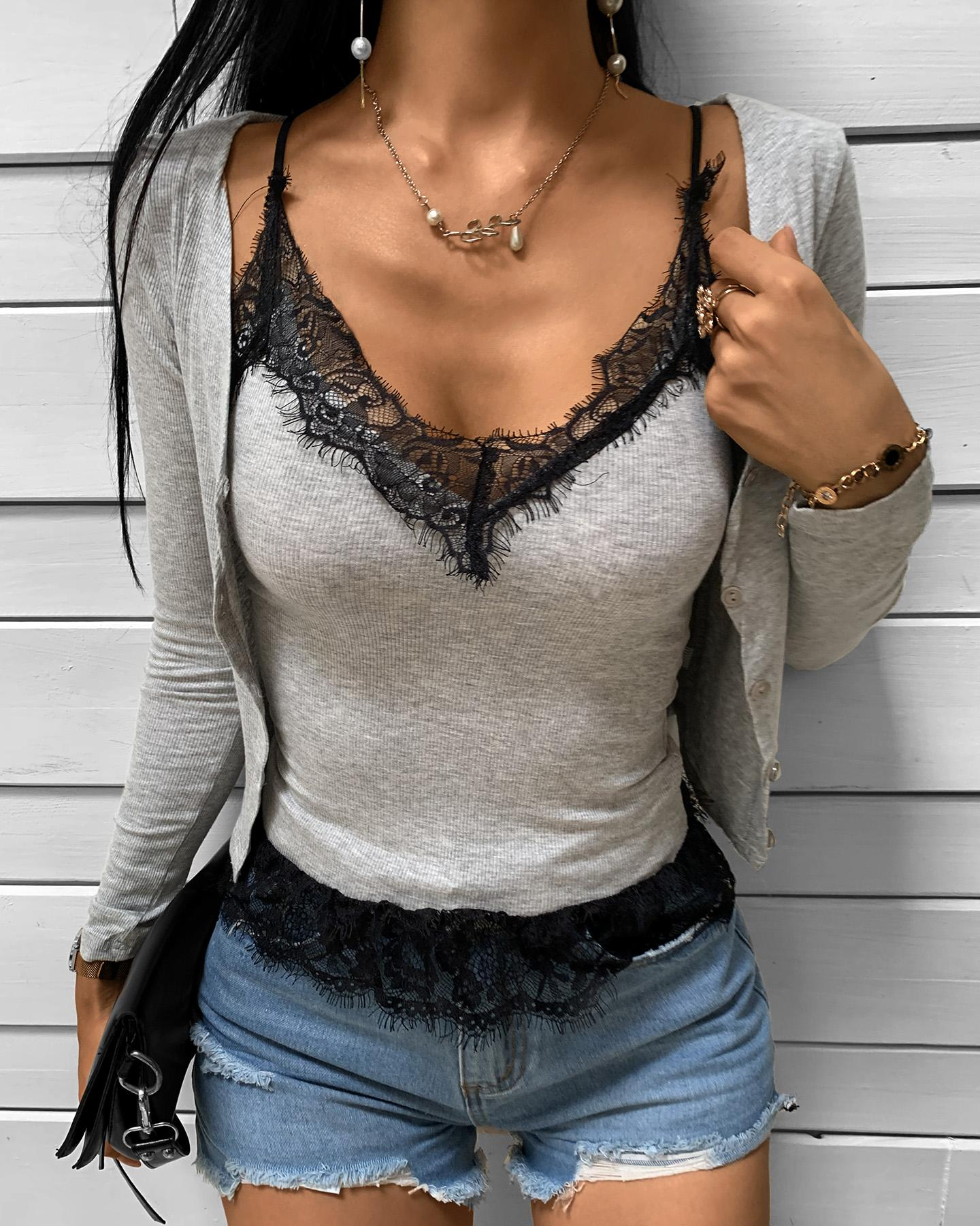 Eyelash Lace Top & Long Sleeve Cardigan Set thumbnail
