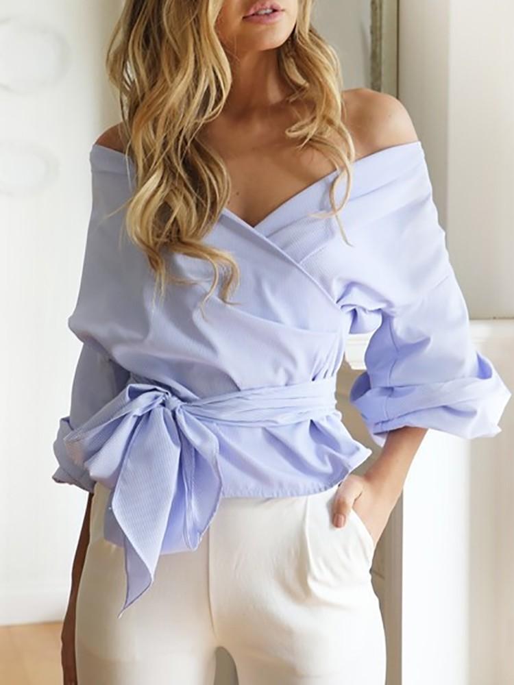 Stylish Women Off Shoulder Crisscross Bandage Bow Top