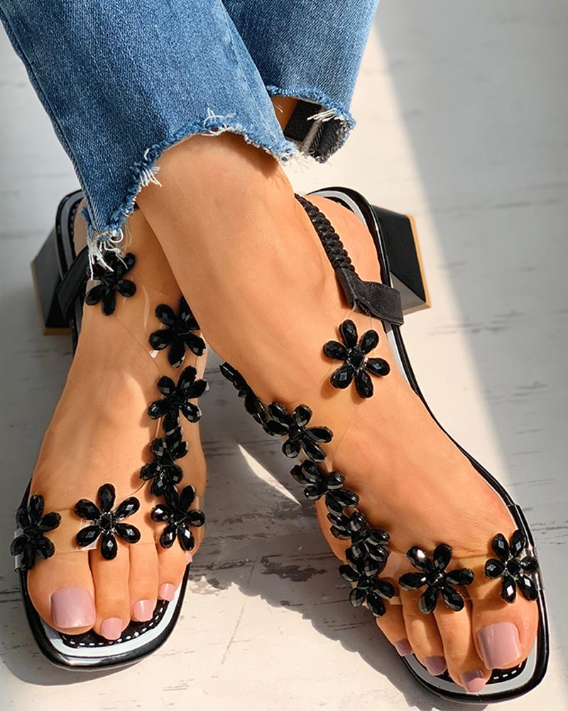 Floral Pattern Open Toe Chunky Sandals thumbnail