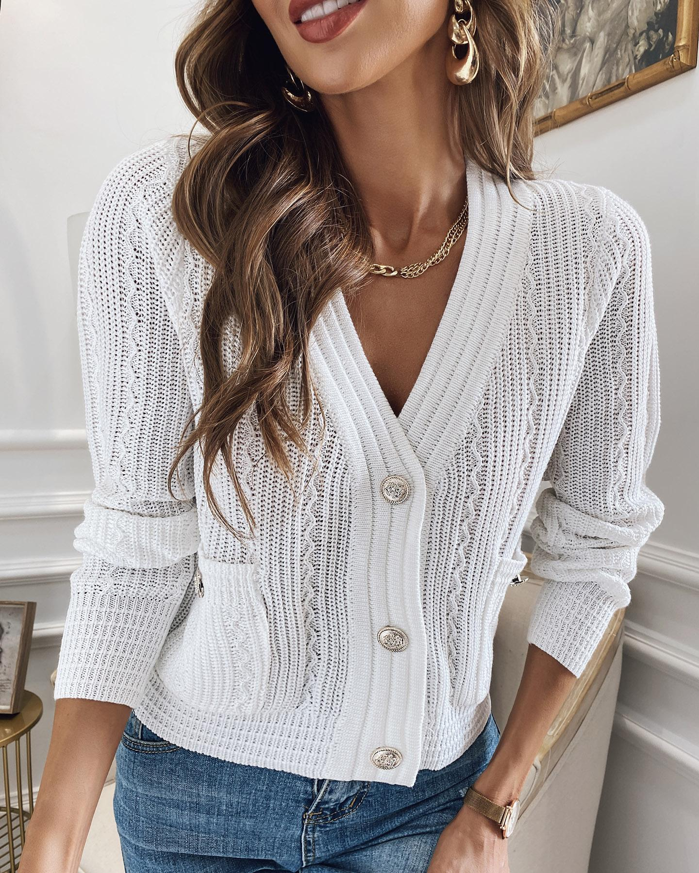 Solid Long Sleeve Fitting Buttons Knit Blouse
