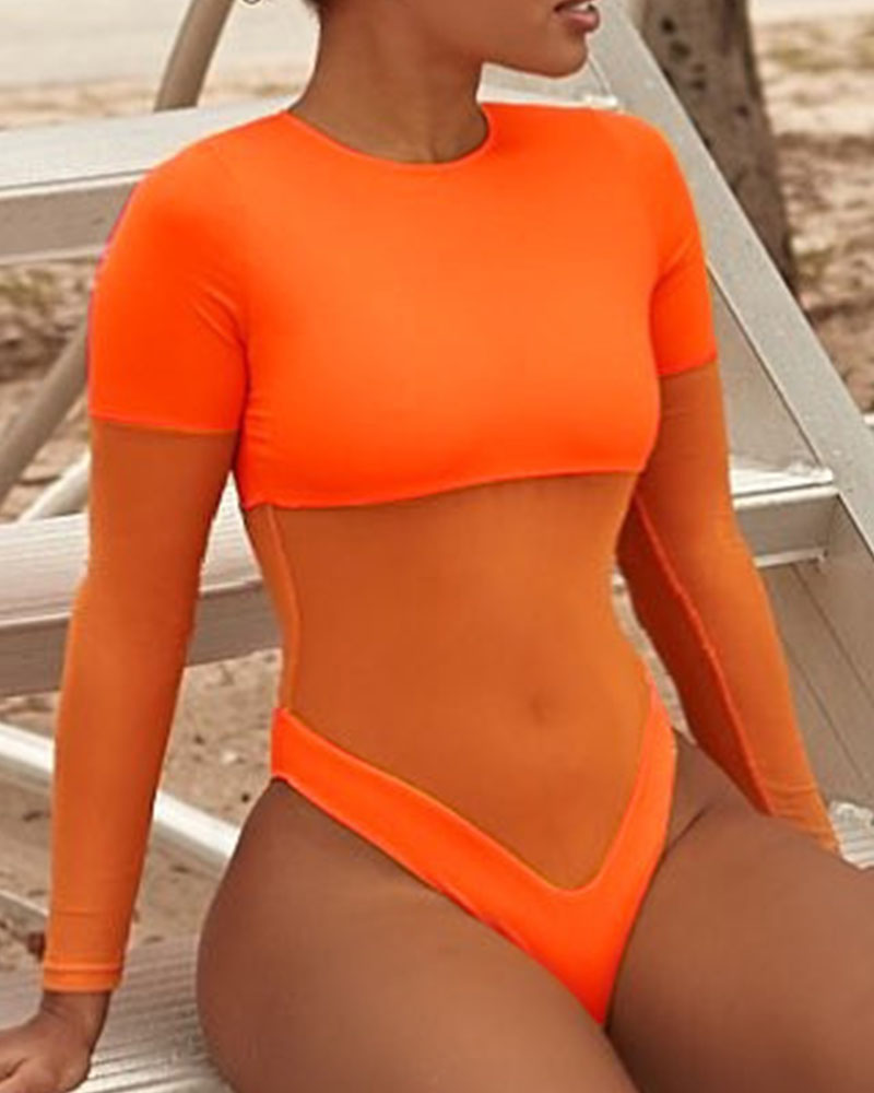 Solid Color Splicing Mesh Short Sleeve Bodysuit One-Piece Bikini Sets