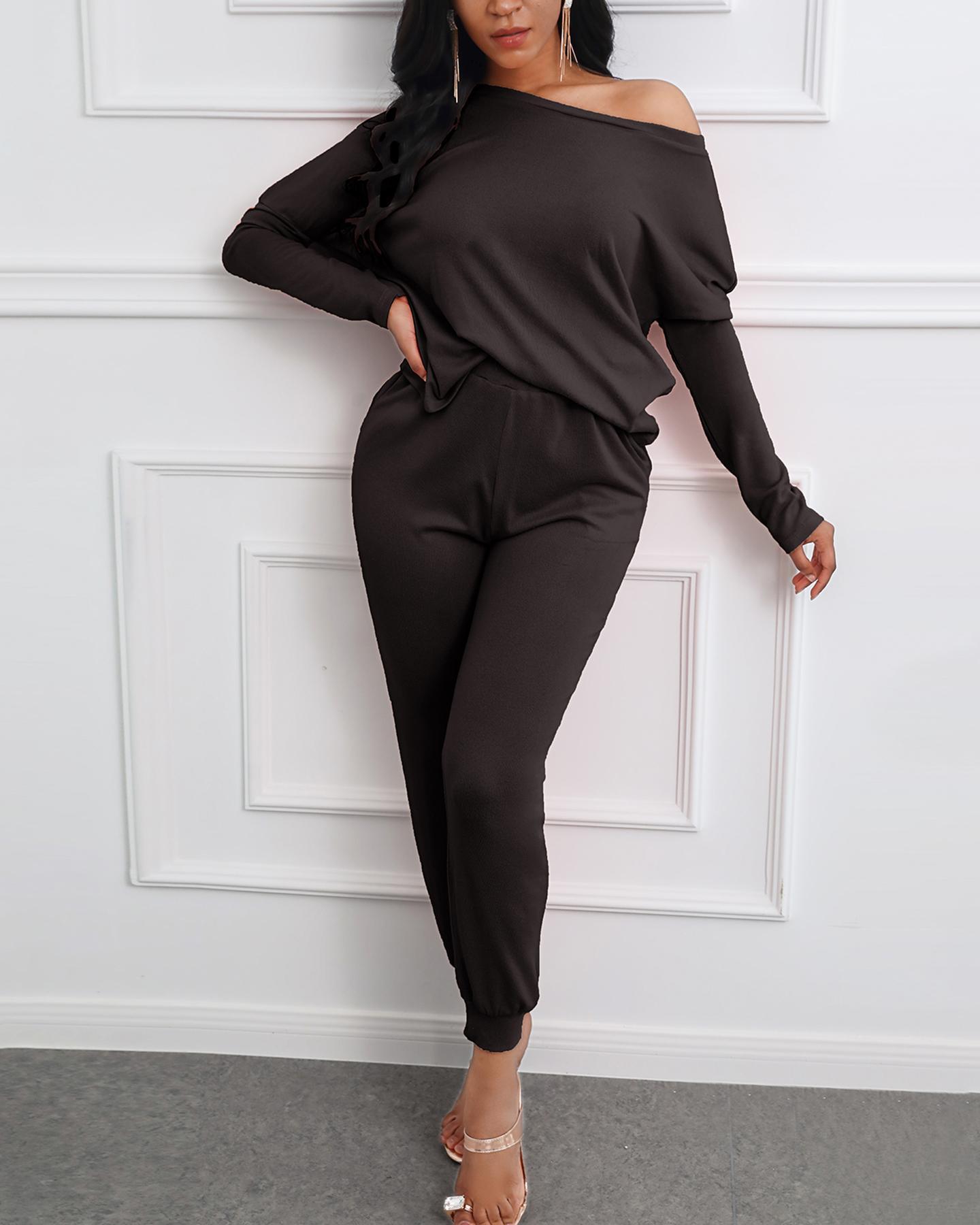 Solid Long Sleeve Top & Drawstring Casual Pants Set thumbnail