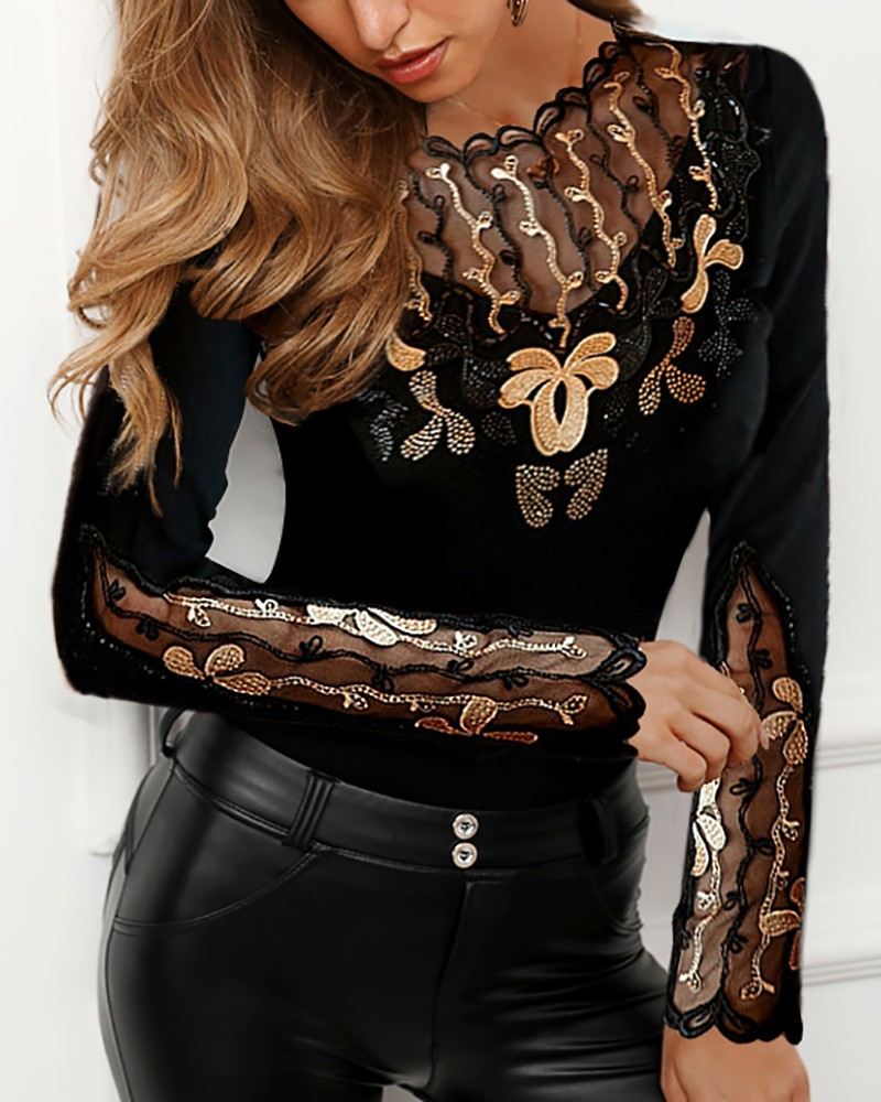 Sheer Mesh Studded Embroidery Blouse