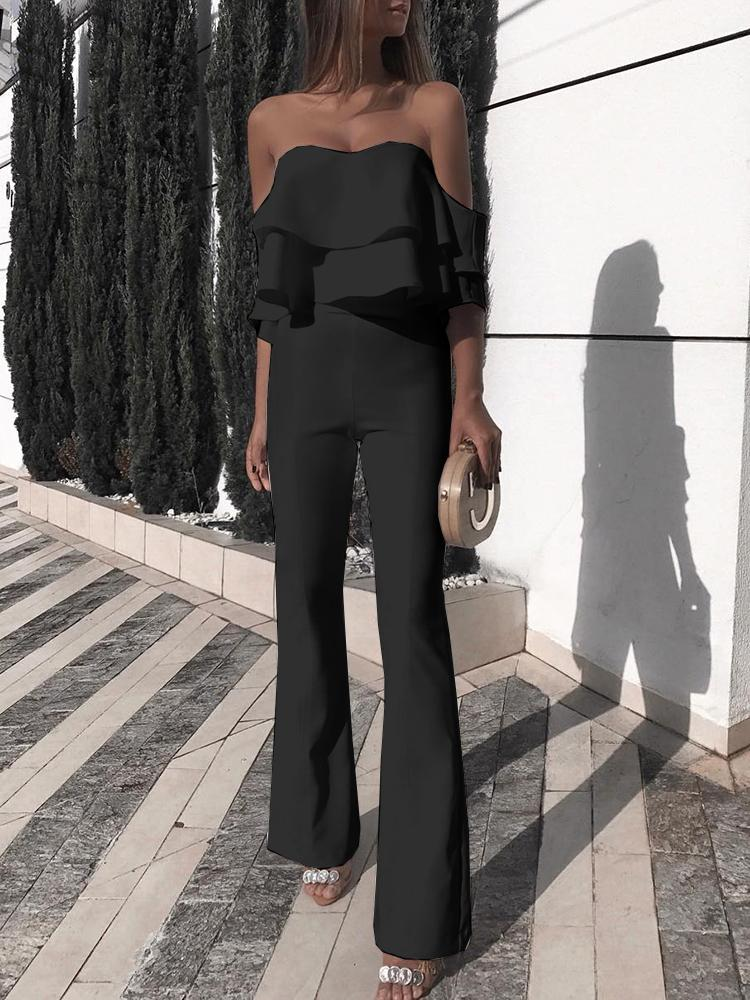 196e147a8a92 Elegant Ruffled Off Shoulder Slinky Jumpsuit Online. Discover hottest trend  fashion at chicme.com