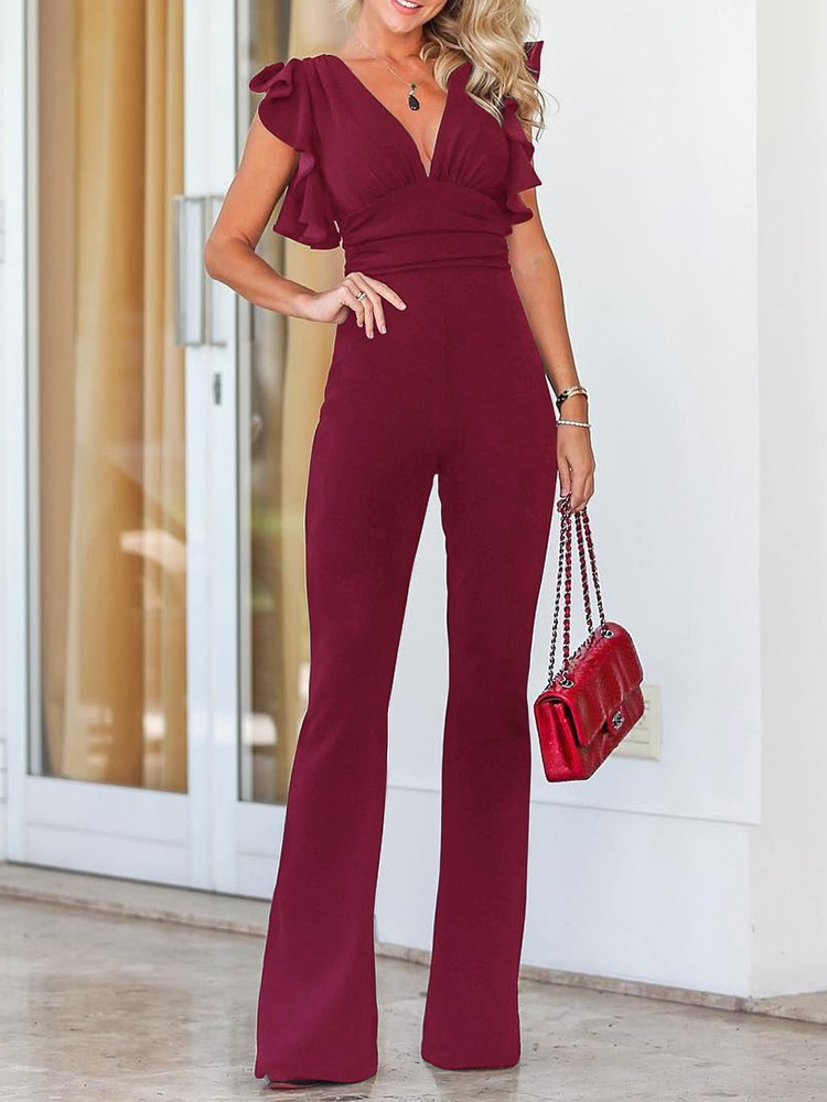 boutiquefeel / Solid Plunge Flutter Sleeve Scrunch Flared Jumpsuit