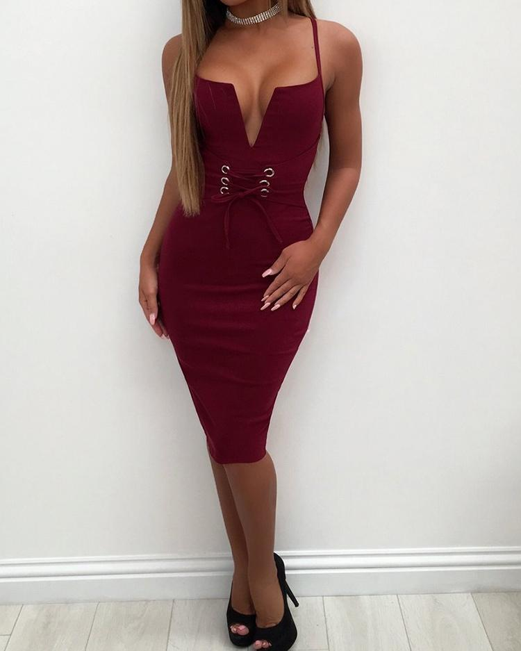 Sexy Lace-Up Eyelet Cocktail Party Bodycon Dress