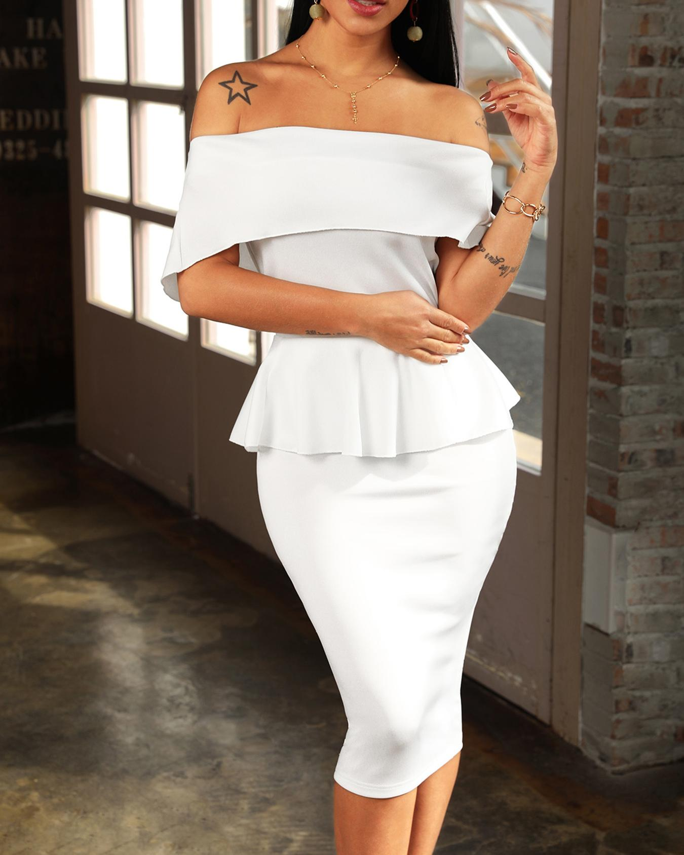 Women Slash Neck Fold-over Shoulder Peplum Bodycon Dress