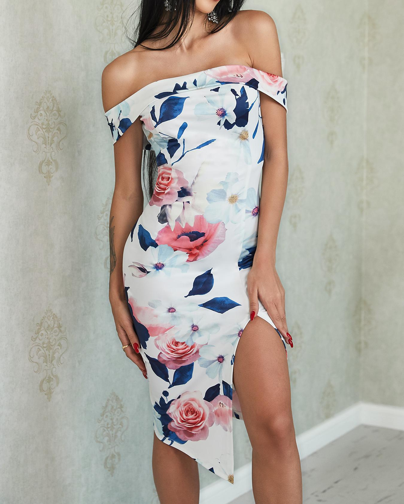Joyshoetique coupon: Floral Fold Over Off Shoulder Split Bodycon Dress
