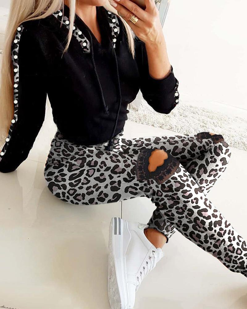 Cheetah Print Colorblock Hooded Top & Cutout Pants Set thumbnail