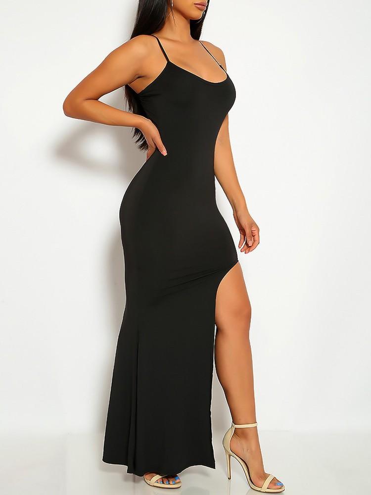 boutiquefeel / Spaghetti Strap Slit Evening Dress