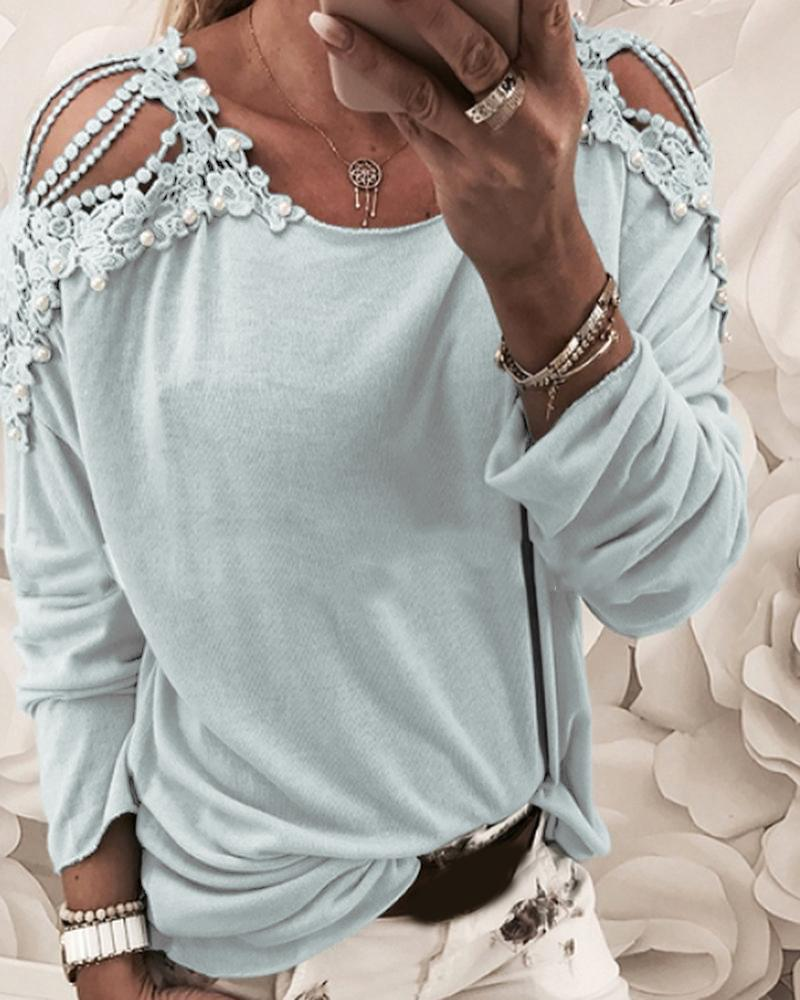 Floral Pattern Beaded Cut Out Casual Top thumbnail