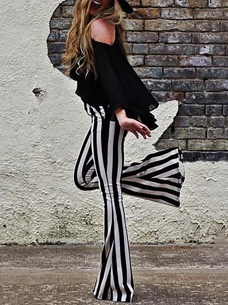 boutiquefeel / Vertical Striped Casual Bell-Bottom Pants