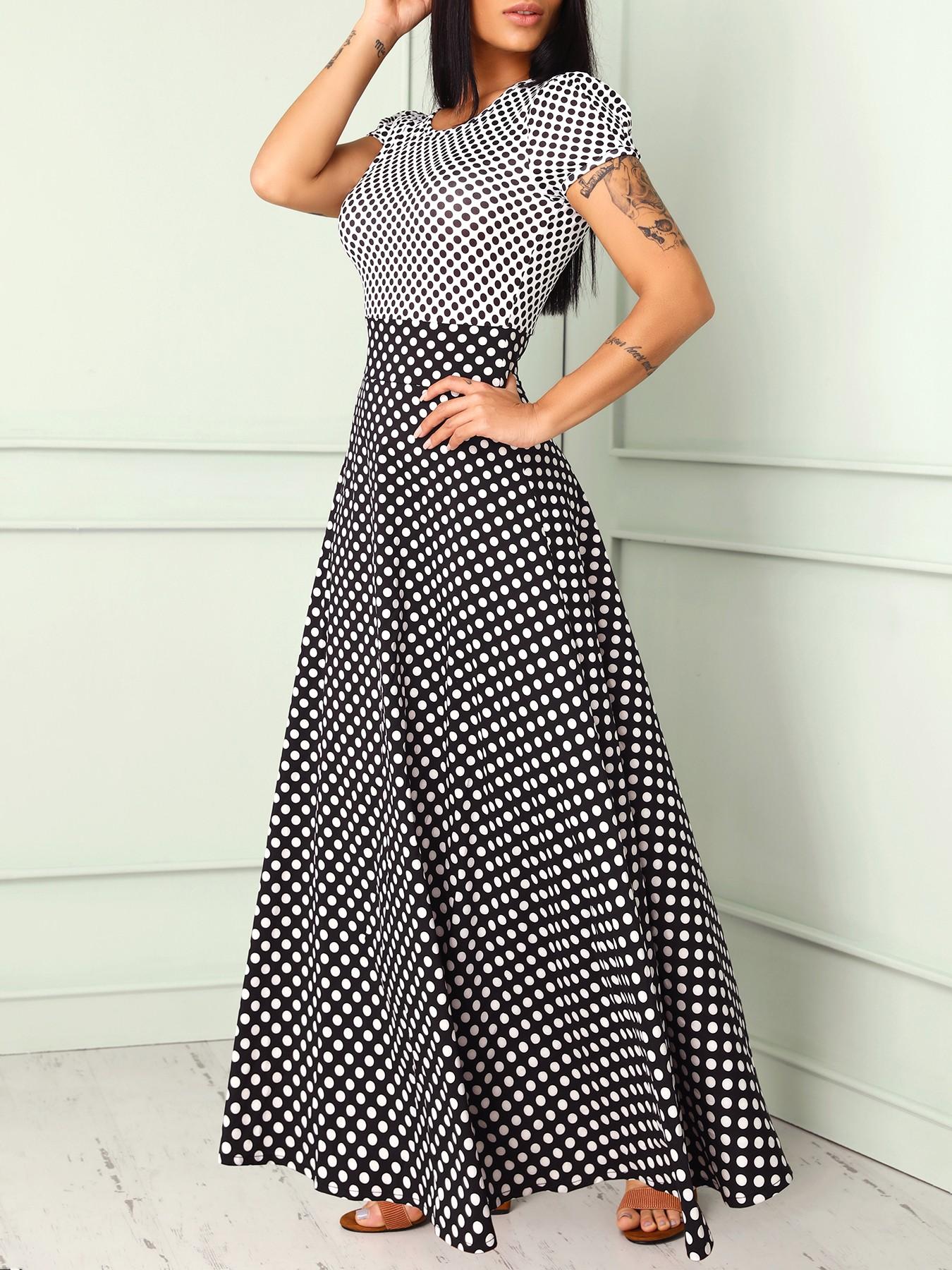 boutiquefeel / Short Sleeve Polka Dots Print Patchwork Maxi Dress