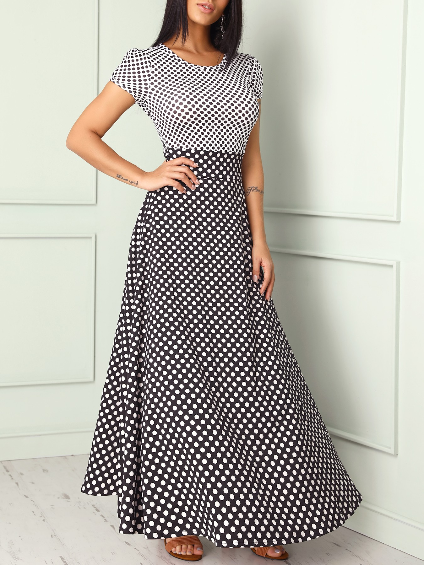 boutiquefeel / Short Sleeve Polka Dots Print Patchwork Maxi Dress