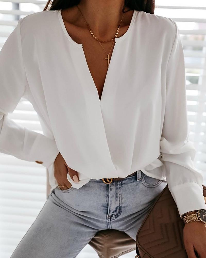 Long Sleeve Ruched Detail Casual Blouse, White