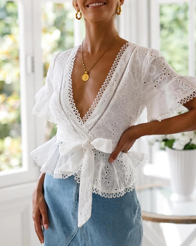 Eyelet Embroidery V Neck Knotted Top