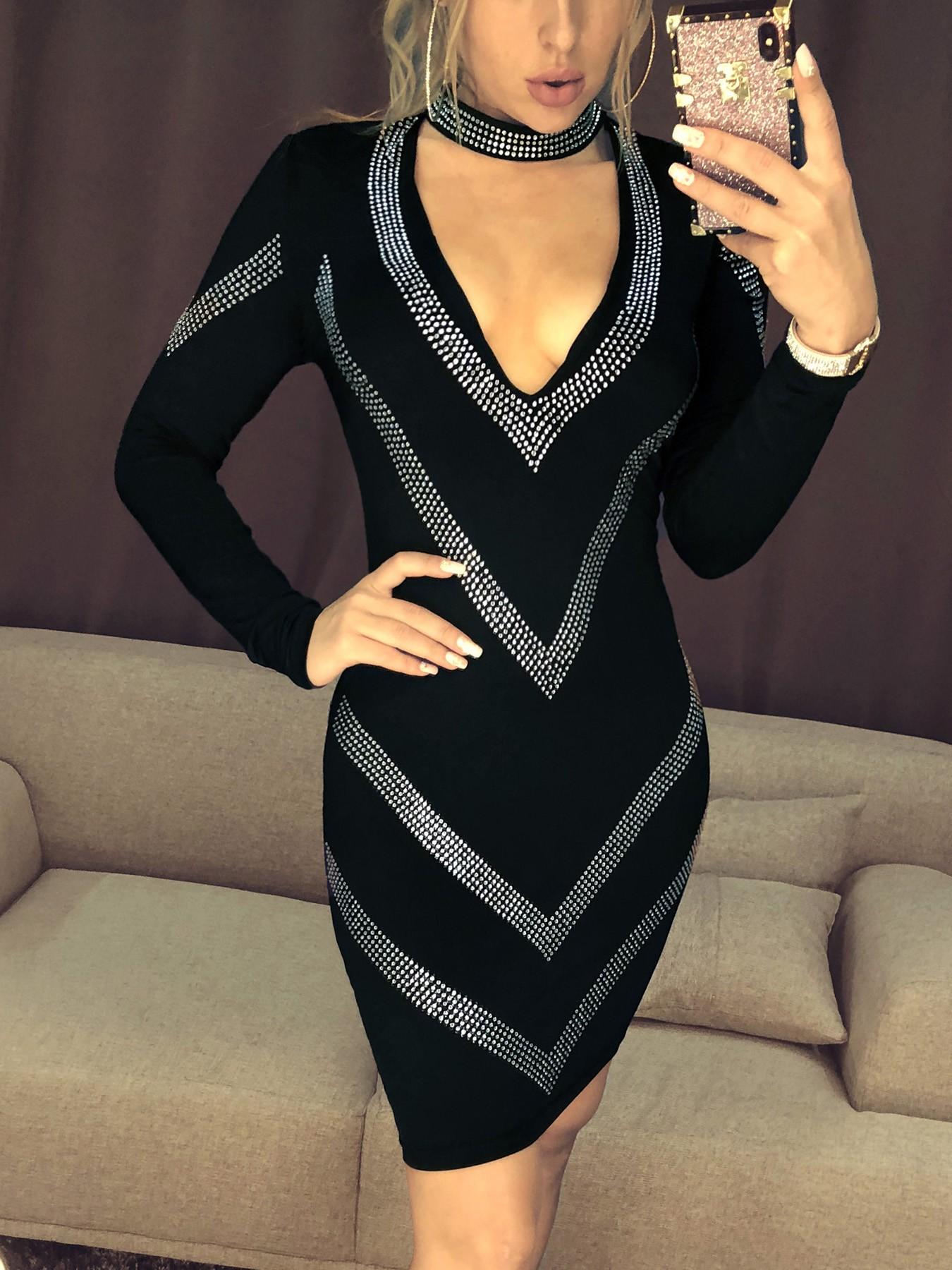 boutiquefeel / Deep V-Neck Gem-Studded Bodycon Dress
