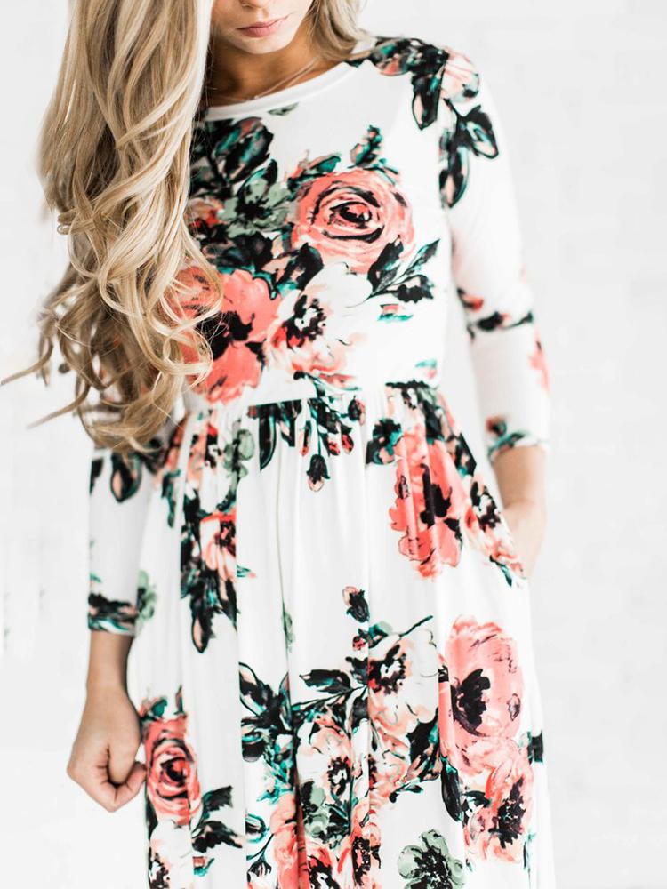 ba484247645c Vintage Women Shirring Waist Floral Maxi Dress Online. Discover hottest  trend fashion at chicme.com