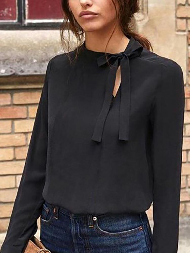 boutiquefeel / Cut Out Tie Neck Casual Top