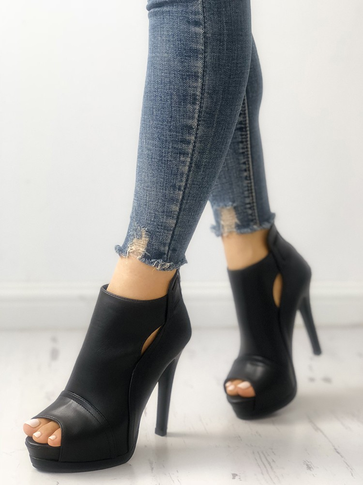 boutiquefeel / Fashion Peep Toe Cutout Thin Heels