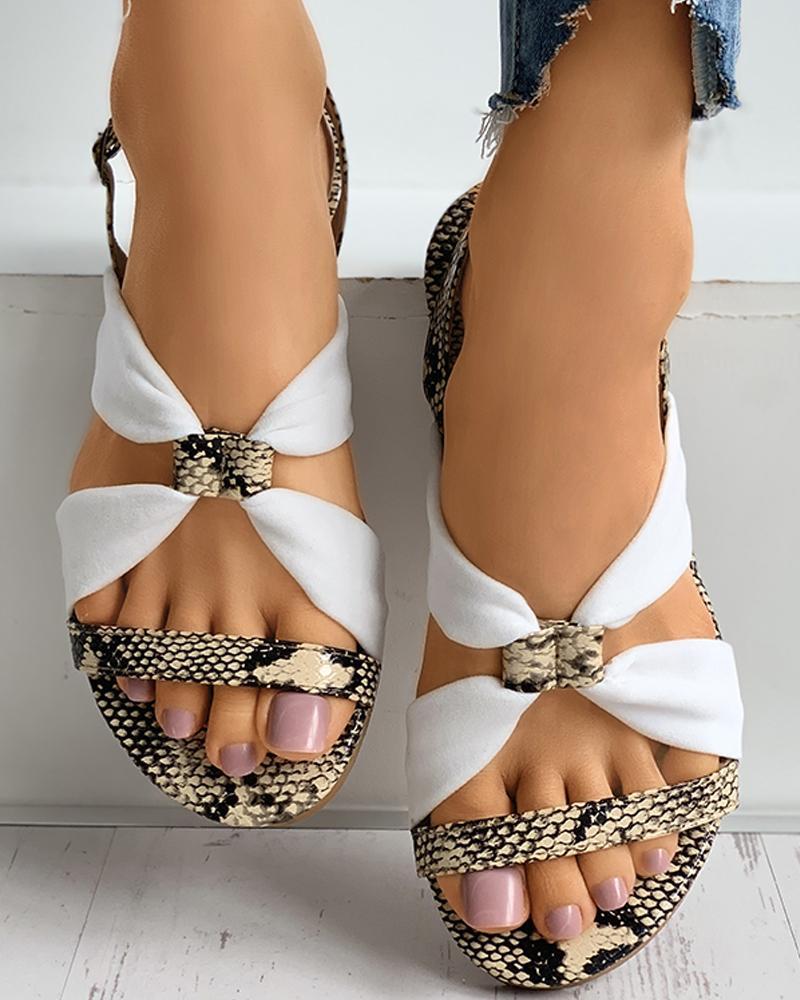 Snakeskin Grid Colorblock Slingback Sandals thumbnail