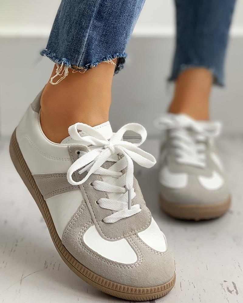 Retro Suede Colorblok Lace-Up Sneakers thumbnail