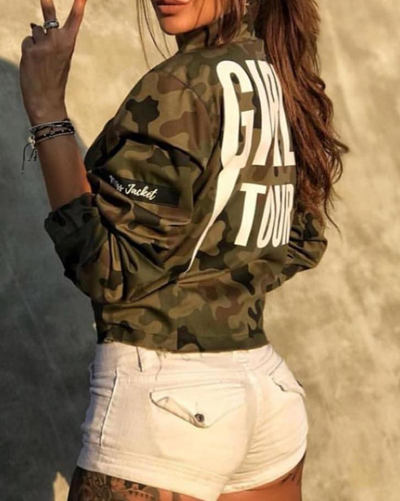 Camouflage Letter Print Zipper Design Jacket thumbnail