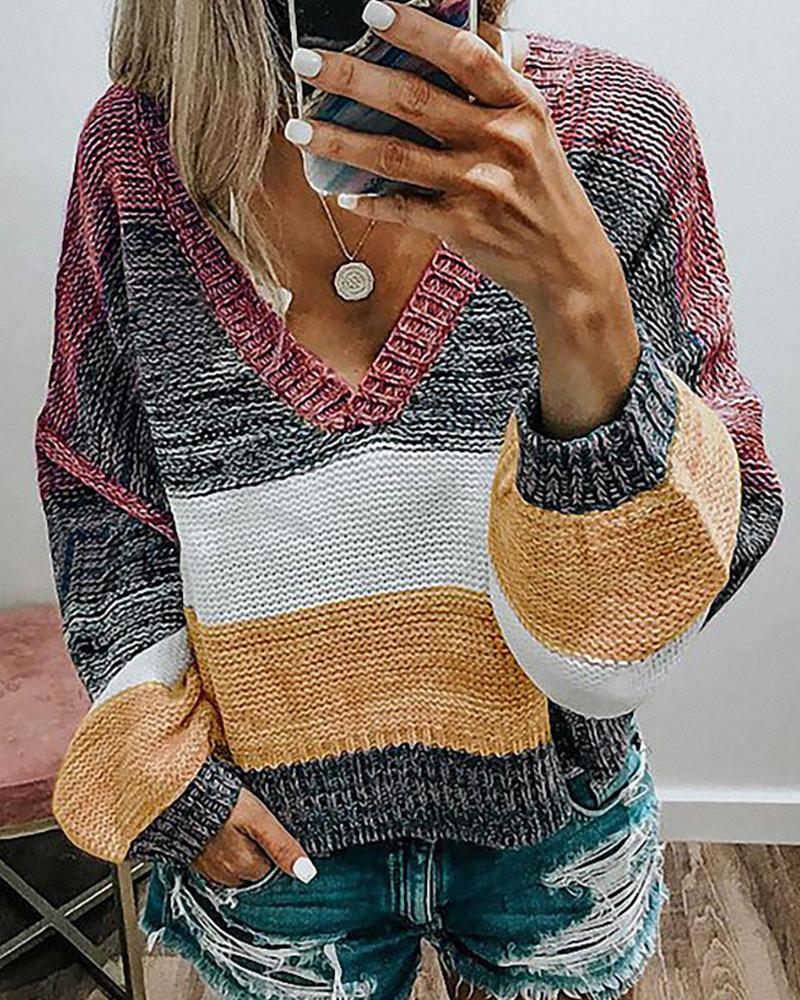 Colorblock Lantern Sleeve Knit Top thumbnail