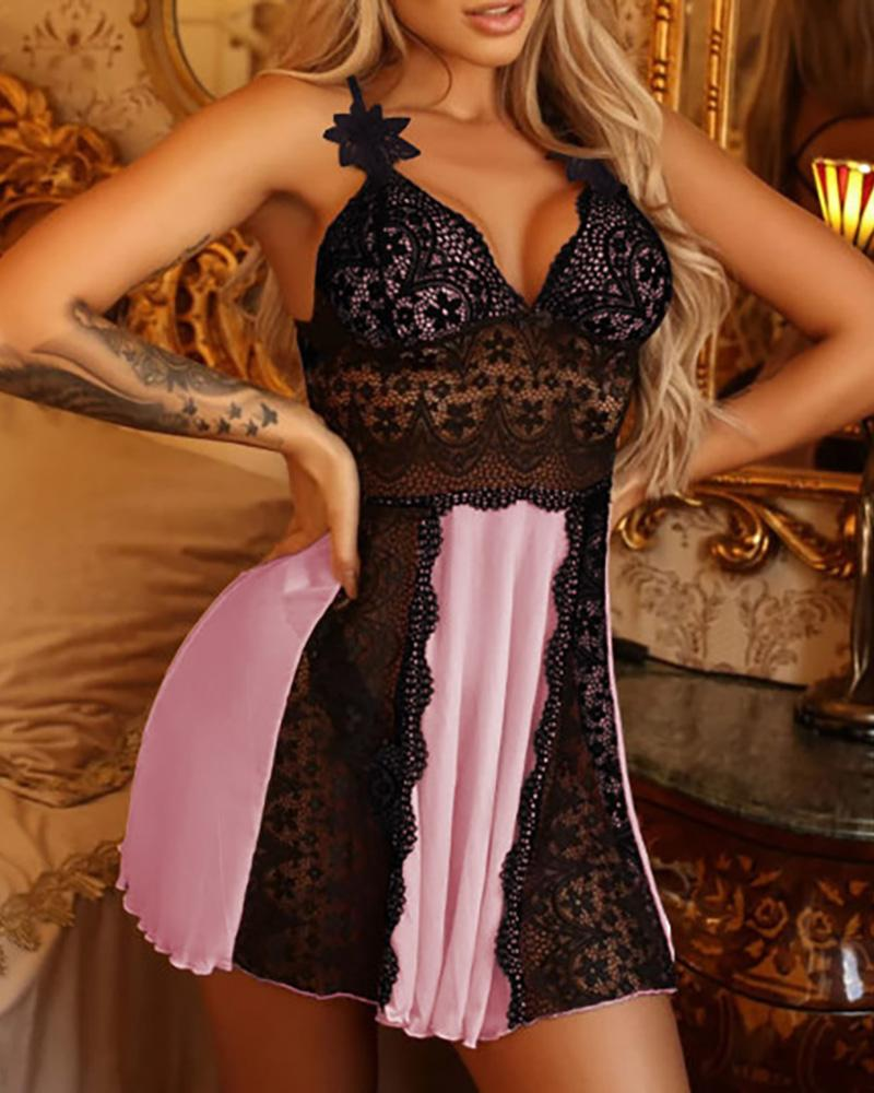 Lace Hollow Out Crisscorss Backless Babydoll thumbnail