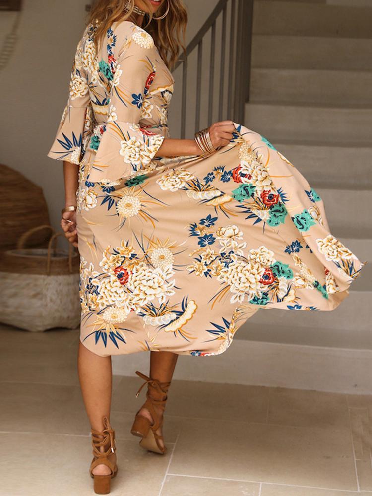 boutiquefeel / Floral Print Self Belted High Slit Wrap Maxi Dress