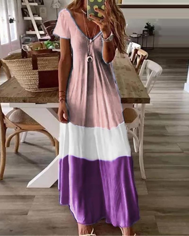 joyshoetique / V-Neck Short Sleeve Colorblock Maxi Dress