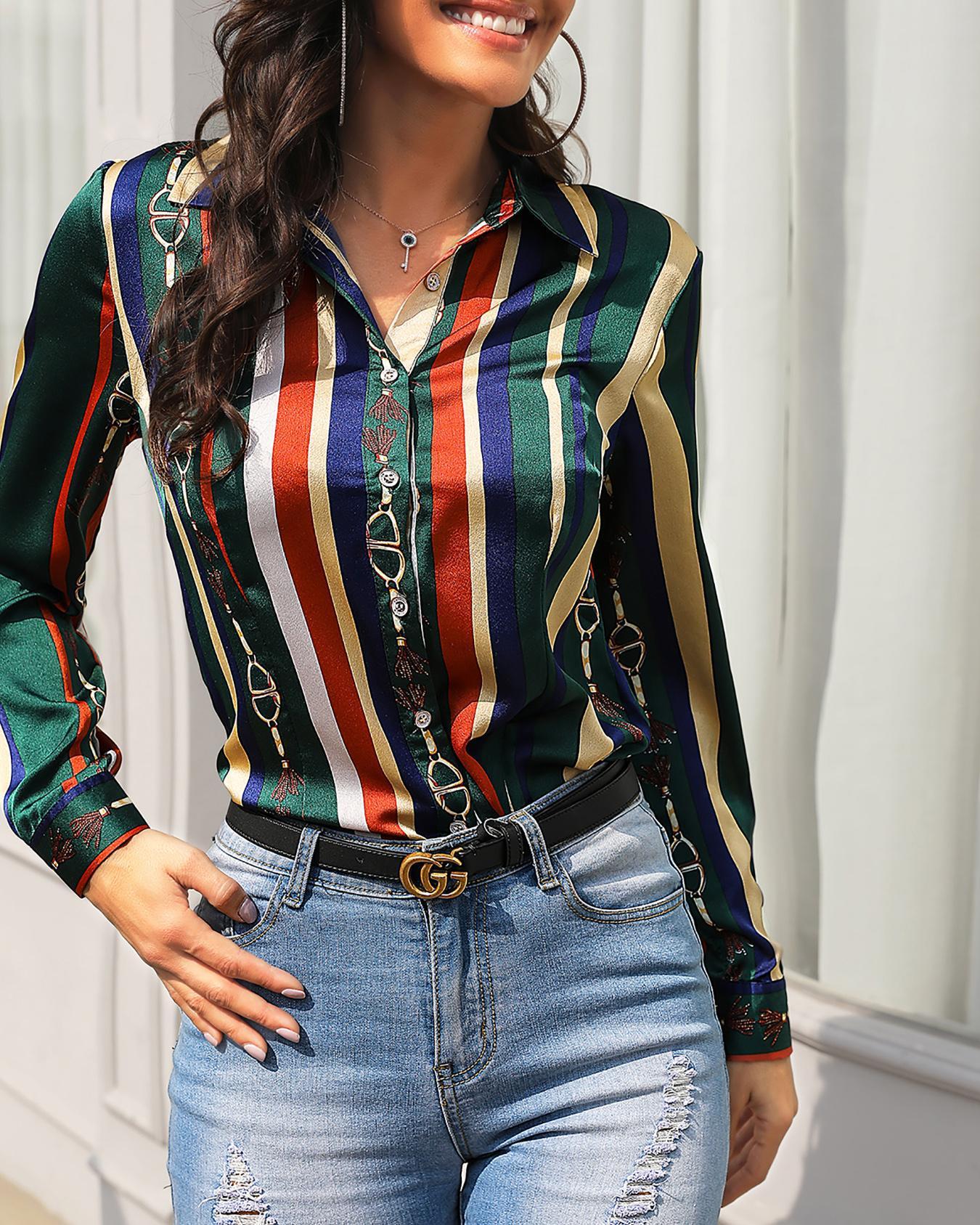 Saddle Print Multicolor Stripes Long Sleeve Blouse
