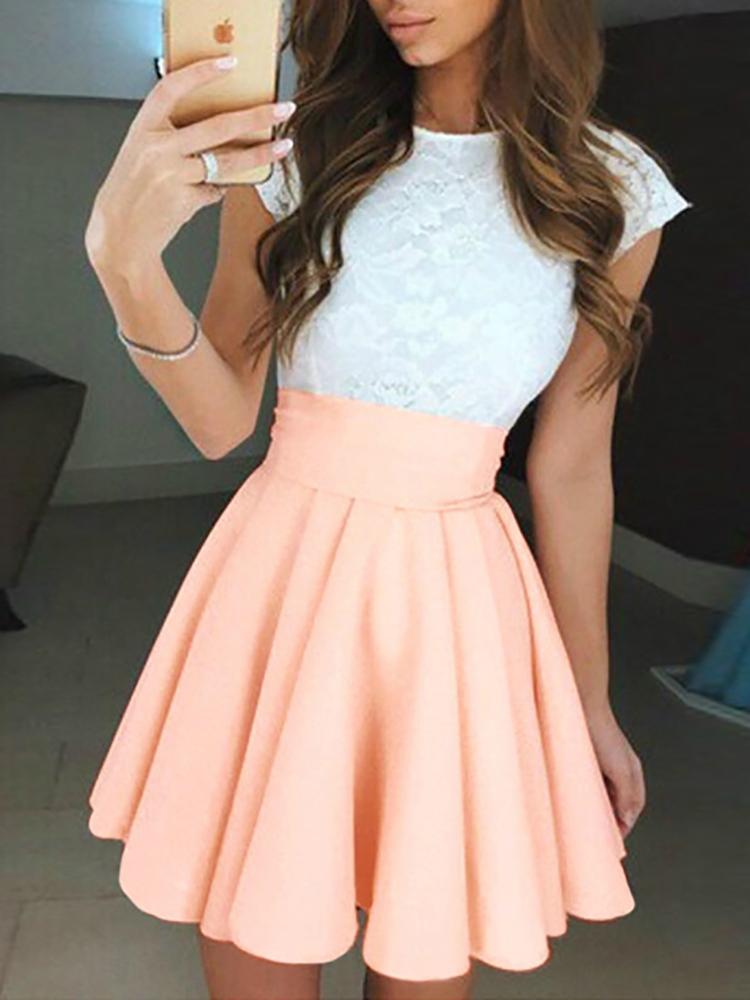 Ivrose coupon: Elegant Lace Splicing Ruched Mini Dress