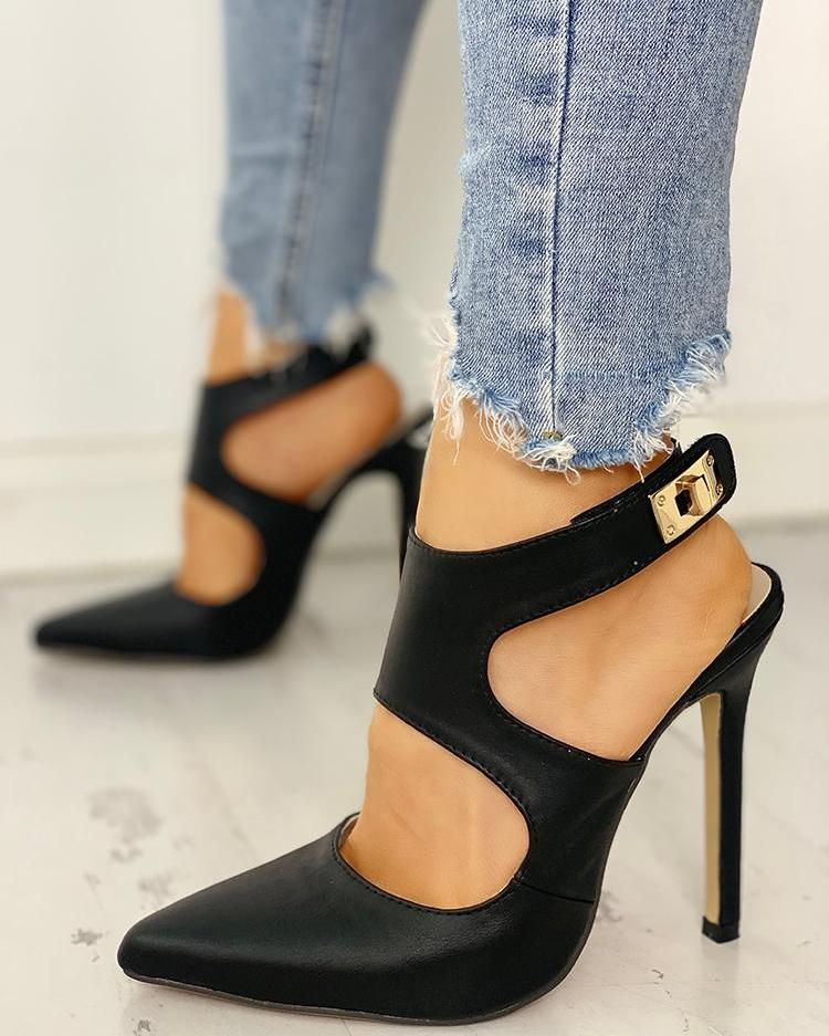 Pointed Toe Cut Out Slingback Heels
