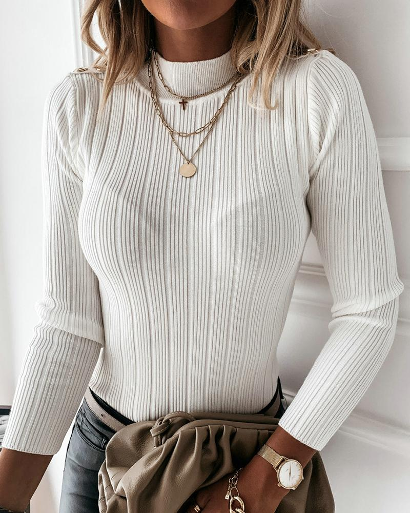 Button Design Long Sleeve Knit Sweater thumbnail