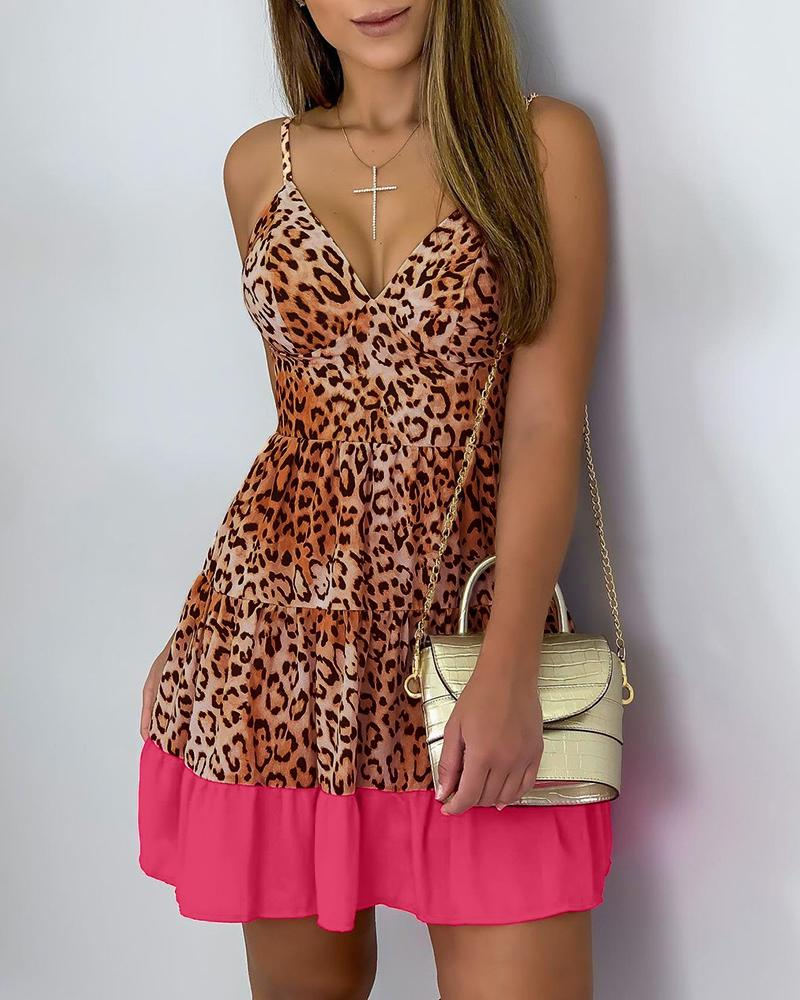 Spaghetti Strap V-Neck Colorblock Cheetah Print Dress, boutiquefeel, hot pink  - buy with discount