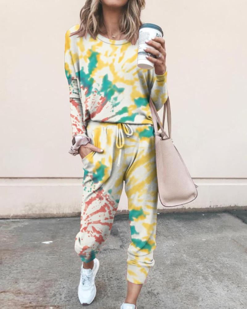 Tie Dye Daisy Print Top & Drawstring Pants Set thumbnail